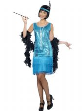 1920's Flirty Flapper Dress Teal